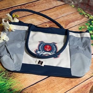 BIJOUX TERNER LARGE BEACH BAG NAVY AND WHITE